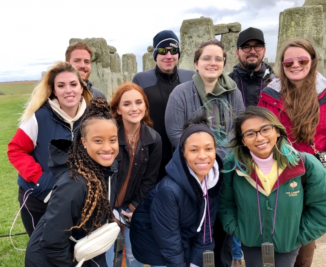 Study abroad students in England