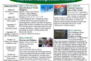 RELS fall class schedule screenshot